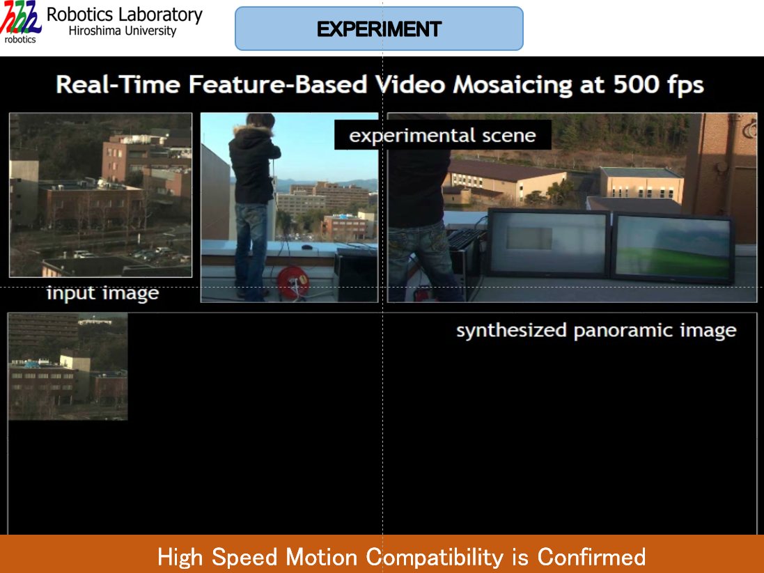 Video mosaicing at 500 fps